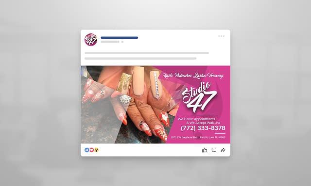 Studio47 Nails Facebook Ad Graphic Design